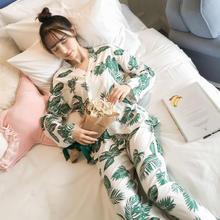 送眼罩 日系春秋季长袖和服睡衣女可爱甜美清新芭蕉叶家居服套装