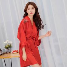 婚礼伴娘闺蜜派对晨袍喜庆红色新娘睡袍新婚结婚化妆浴袍性感睡衣