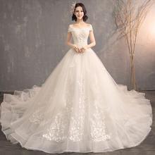韩式唯美一字肩小V领婚纱
