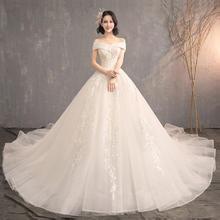 韩式一字肩小V领婚纱