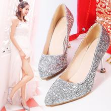 水晶鞋婚鞋新款W013银色高跟鞋细跟婚纱鞋红色新娘鞋白色婚鞋