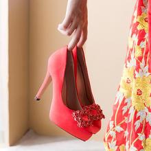 818新款婚纱超高跟婚礼结婚鞋子新娘鞋婚鞋女单鞋红色11cm