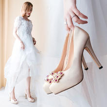 818婚鞋女单鞋超高跟新娘鞋拍婚纱照鞋子结婚鞋香槟色11cm