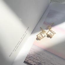 珍珠耳环气质少女锆石耳饰镂空几何菱形耳钉无耳洞耳夹#182