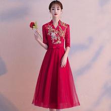 红色敬酒服女2018新款中式结婚旗袍礼服显瘦中长款新娘回门连