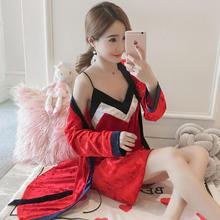 新款金丝绒睡衣女秋冬季长袖睡袍性感两件套红色吊带睡裙家居服