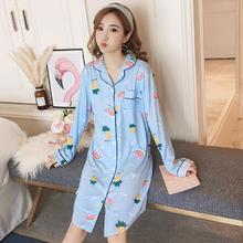 韩版春秋季性感开衫长袖睡裙女宽松可爱甜美清新睡衣家居服可外穿