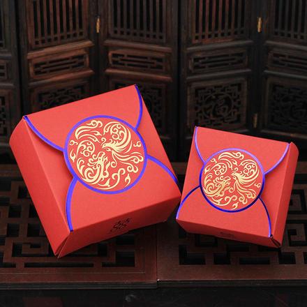 【大号可装烟】中式鸾凤和鸣烫金喜糖盒