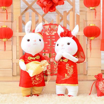 【一对】中式婚礼可爱兔子