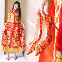 823新款结婚鞋子龙凤扣秀禾新娘婚鞋女单鞋红色高跟7.5cm