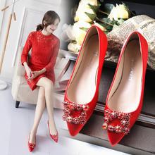 婚鞋女红色平底结婚鞋子女2018新款浅口新娘鞋孕妇大码秀禾鞋
