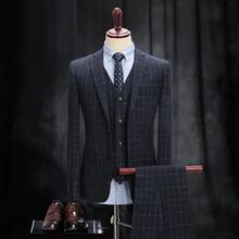送同款衬衫领带】e黑格子白点男士西服新郎结婚英伦风西装套装