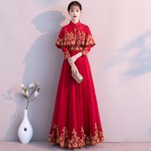 中式敬酒服新娘秋冬2018新款冬长款长袖显瘦结婚礼服女红色回