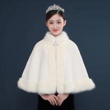 2018一字款婚纱披肩秋冬季仿狐狸毛新娘结婚礼服旗袍皮草外套