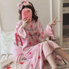 送发带秋冬季草莓睡裙法兰绒清新韩版女加大码睡衣中长款家居服