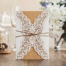 森系文艺牛皮纸风婚礼邀请函喜帖设计商务会议邀请卡免费设计打印