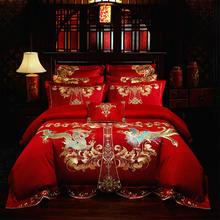 新款大红刺绣四件套----龙凤传奇