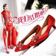 龙凤鞋婚鞋女2018新款红色尖头细跟高跟鞋敬酒新娘鞋大码结婚