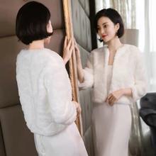 加厚婚纱毛披肩冬季2018新款保暖新娘结婚小外套礼服坎肩长袖