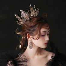新娘复古黑色水晶皇冠女王圆冠婚纱礼服晚宴头饰生日配饰品