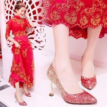 婚鞋女2018新款结婚鞋子新娘鞋水晶鞋女猫跟高跟红色敬酒韩版