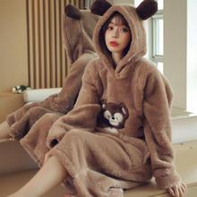 秋冬季可爱连帽长毛绒睡裙女宽松长款卡通小熊睡衣家居服可外穿
