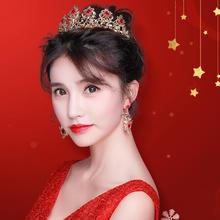2018新款红色新娘头饰皇冠耳环发饰套装韩式结婚敬酒服饰品