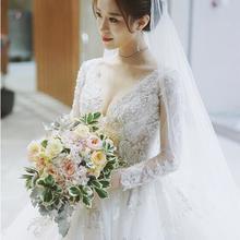 主婚纱!礼服新娘冬季长袖性感v领长拖尾公主梦幻森系
