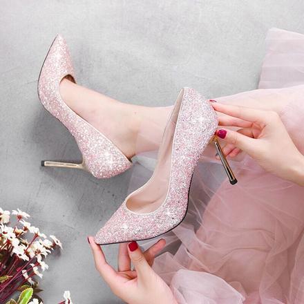 经典款水晶亮片婚纱礼服婚鞋