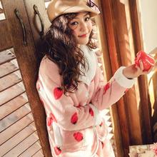 新款冬季睡衣女保暖加厚复合绒开衫家居服秋冬羊羔绒套装