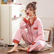 2018韩版女士睡衣开衫纯棉秋冬季休闲全棉时尚家居服套装