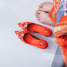 829 新款红色婚鞋新娘珍珠扣小清新高跟鞋孕妇  6厘米