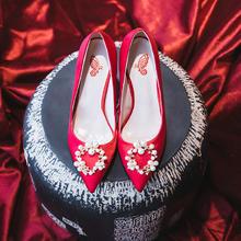995  红色婚鞋女婚纱新娘鞋高跟鞋少女细跟  6.5厘米