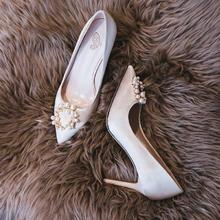 995 新款香槟色婚鞋女纱新娘鞋高跟鞋细跟  6.5厘米