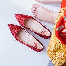 825  新款红色婚鞋女婚纱鞋平跟新娘鞋孕妇平底鞋 2厘米
