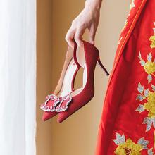 840  新款红色侧空高跟鞋少女细跟水钻秀禾鞋 6.5厘米