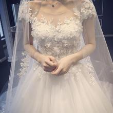 轻婚纱新款森系新娘结婚双肩简约拖尾白色花瓣抖音同款超