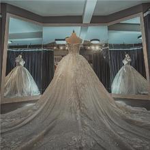 重工公主梦幻!一字肩拖尾主婚纱礼服新娘星空奢华森系