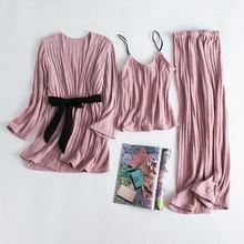 韩版性感甜美长袖吊带三件套睡衣喜庆红色雪尔绒家居服套装可外穿