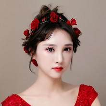 红色花朵发饰新娘头饰结婚纱发箍发带韩式婚礼敬酒服配饰品玫瑰花