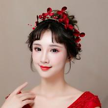 红色新娘头饰2018新款秀禾服敬酒礼服结婚饰品头花女仙美发饰