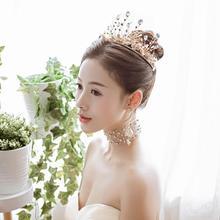 超仙百搭!巴洛克皇冠头饰新娘结婚颈链耳环套装婚纱礼服配饰新款