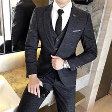 送衬衫领带领结】新郎结婚三件套西服套装黑灰西装礼服修身伴郎服