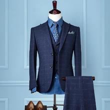 新郎西服套装男士三件套结婚礼服修身商务休闲正装英伦格子西装男