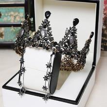 显示促销新款黑色圆形皇冠巴洛克锆石耳环套装新娘结婚头饰婚纱