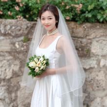 韩式简约!短长款新娘结婚婚纱头纱气质款素纱裸纱造型拍照头纱