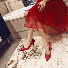 婚鞋女2018新款结婚鞋子新娘鞋红色高跟鞋女冬细跟伴娘婚纱鞋