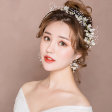 新娘头饰新款超仙婚纱发饰套装韩式婚礼敬酒服发箍发带礼服配饰品