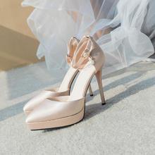 804  新款香槟色防水台婚鞋细跟婚纱新娘鞋婚 11厘米