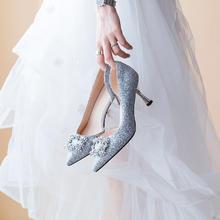 816  新款银色猫跟亮片侧空婚纱鞋 5.5厘米 7.5厘米